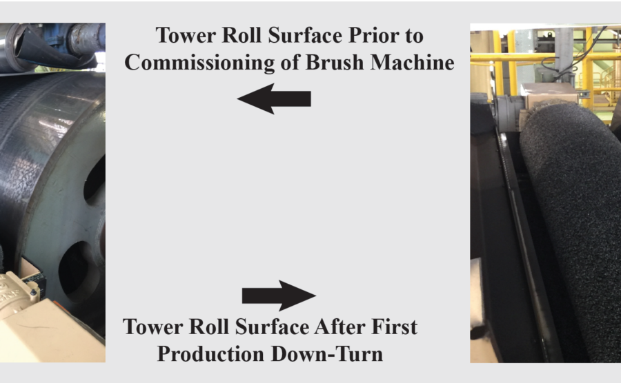 After Pot Cooling Tower Turn Roll Surface Brush Cleaning Machine For Hot Dip Galvanizing Lines